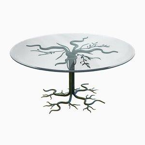 Vintage Brutalist Wrought-Iron Tree Coffee Table