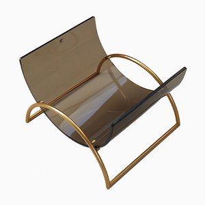 Brass & Smoked Glass Magazine Holder by Pierangelo Gallotti for Gallotti & Radice, 1980s