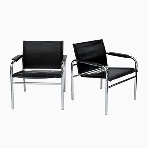 Leather and Chrome Armchairs, 1970s, Set of 2