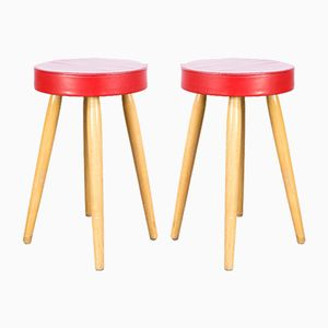 Mid-Century Red Stools, Set of 2