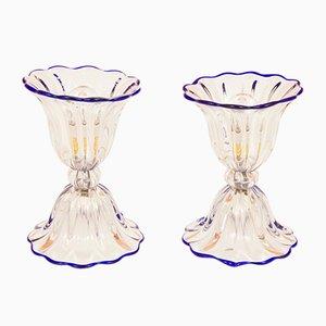 Lámparas de mesa Mid-Century de cristal de Murano de Archimede Seguso, años 60. Juego de 2