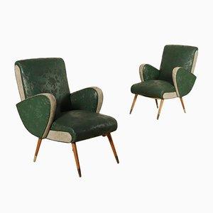 Armlehnstühle aus Skai & Messing, 1950er, 2er Set