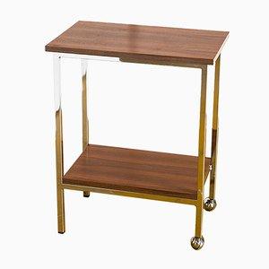 Tavolino vintage in ferro battuto, teak e acciaio cromato su ruote, anni '60