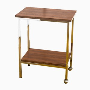 Vintage French Teak & Chromed Iron Side Table on Wheels, 1960s