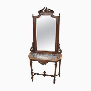 Consolle in legno di noce intagliato con specchio e ripiano in marmo, 1885