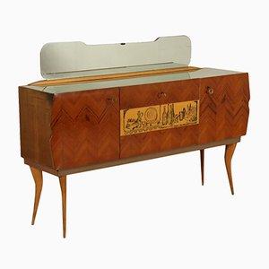 Buffet Vintage en Acajou & en Chêne avec Miroir