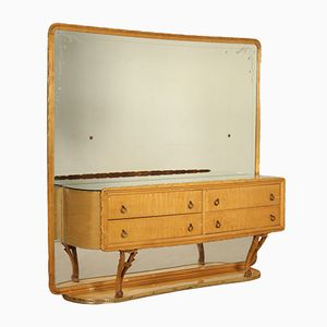 Vintage Italian Brass and Maple Veneer Chest of Drawers, 1940s