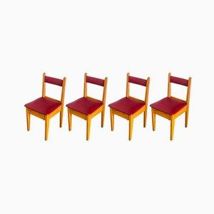 Chaises Vintage en Chêne & Imitation Cuir, France, 1950s, Set de 4