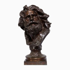 Head of the Old Warrior Skulptur aus Bronze von Francois Rude, 1830er