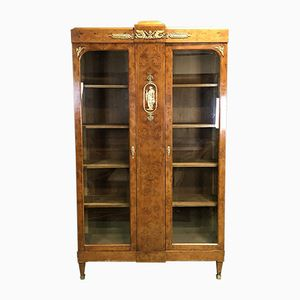 Vintage French Elm Burl Bookcase