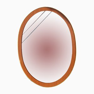 Oval Italian Mirror in Wood & Golden Aluminum, 1960s