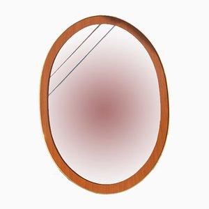 Oval Italian Mirror in Wood & Golden Aluminum, 1960s