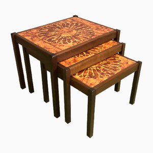 Vintage Teak and Ceramic Nesting Tables