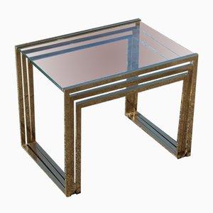 Tavolini impilabili minimalisti in ottone e vetro, Italia, anni '70