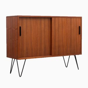 Small Walnut Sideboard with Sliding Doors, 1960s