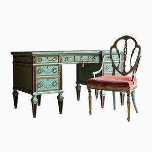 Scrivania e sedia antiche vittoriane, fine XIX secolo