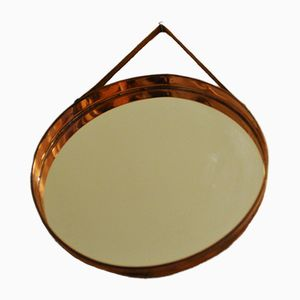 Round Scandinavian Mirror with Copper Frame, 1960s