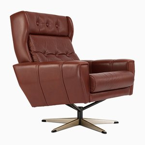 Mid-Century Danish Swivel Chair in Brown Leather from Lystager
