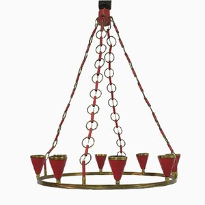 Mid-Century Italian Red Metal and Brass Chandelier, 1950s