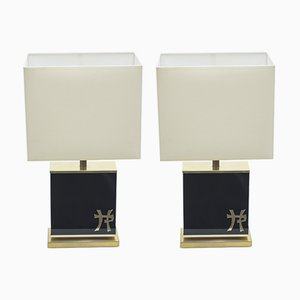 Lacquered Brass Table Lamps by Jean Claude Mahey, 1970s, Set of 2