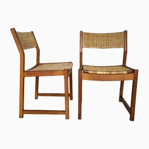 Sedie in quercia con sedute in vimini di Peter Hvidt e Orla Mølgaard Nielsen per Søborg Møbelfabrik, anni '60, set di 2