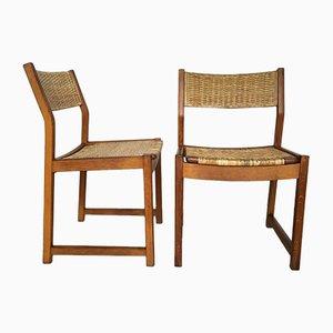 Stühle mit Gestell aus Eiche & Sitz aus Korbgeflecht von Peter Hvidt & Orla Mølgaard Nielsen für Søborg Møbelfabrik, 1960er, 2er Set