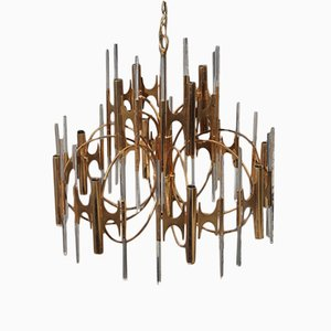 Large Chandelier in Golden Brass & Glass by Gaetano Sciolari, 1960s