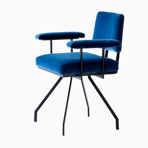 Italian Spider Armchair in Black Iron and Blue Velvet, 1950s