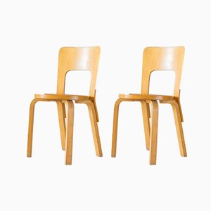 Model 66 Dining Chairs by Alvar Aalto for Artek, 1980s, Set of 2