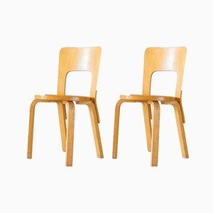 Modell 66 Esszimmerstühle von Alvar Aalto für Artek, 1980er, 2er Set
