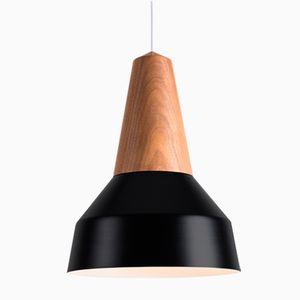 Lampe à Suspension Eikon Basic Noire en Noyer de Schneid Studio