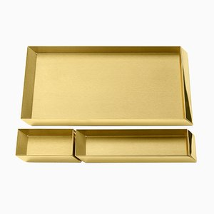 Axonometry Desk Top Trays in Brass by E. Giovannoni for Ghidini 1961, Set of 3