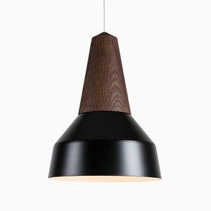 Lampe à Suspension Eikon Basic Noire en Chêne Noir de Schneid Studio