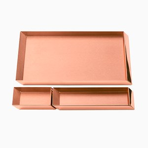 Axonometry Desk Top Trays in Copper by E. Giovannoni for Ghidini 1961, Set of 3