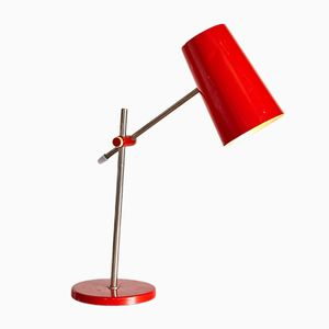 Vintage Red Metal Table Lamp, 1970s
