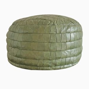 Vintage Green Leather Pouf, 1970s