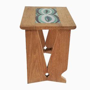 Tavolino in legno di quercia massiccio di Guillerme & Chambron, anni '60