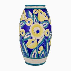 Vaso Art Déco in ceramica con fiori di Keramis, 1932