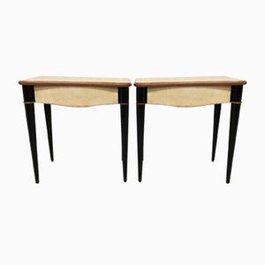 Tables de Chevet Érable et Parchemin, Italie, 1940s, Set de 2