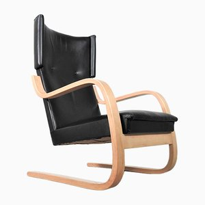 Mid-Century Model 401 Leather Armchair by Alvar Aalto for Artek