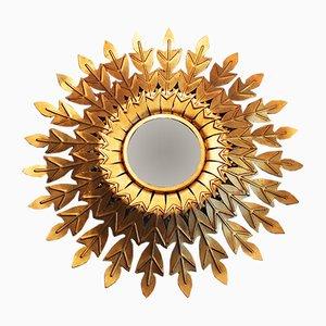 Mid-Century Spiegel mit Rahmen aus Schmiedeeisen & Blattgold