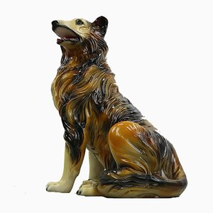 Vintage Porcelain Ceramic Collie Dog Statue, 1970s