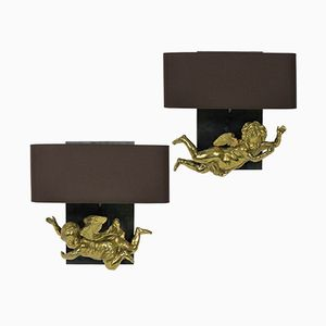 Antique French Cherub Wall Sconces, Set of 2