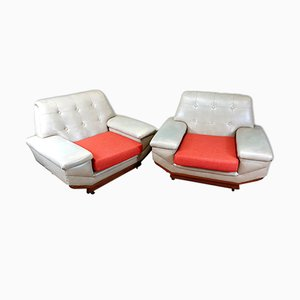 Large Vintage Vinyl Chairs, Set of 2