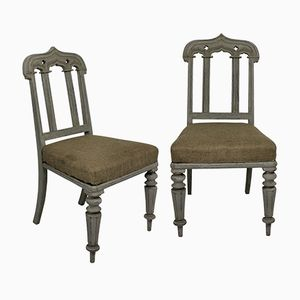 English Gothic Lacquered Chairs, 1860s, Set of 2