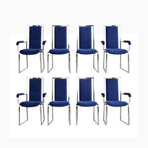 Chaises de Salon Modernes en Chrome, 1980s, Set de 8