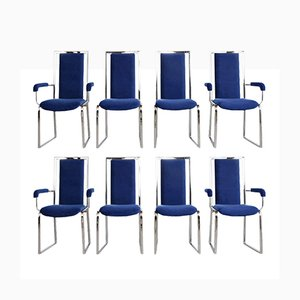 Modern Chrome Dining Chairs, 1980s, Set of 8