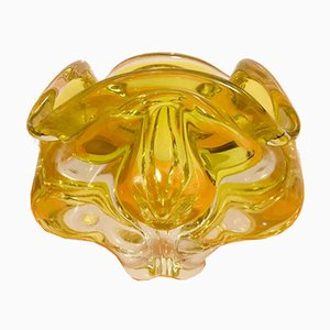 Yellow Czech Chribska Glass Vase by Josef Hospodka, 1970s