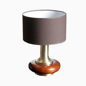Lampada da tavolo vintage in legno e acciaio inox