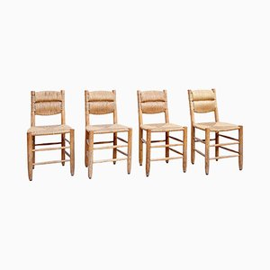 Vintage French Dining Chairs by Charlotte Perriand, 1950s, Set of 4
